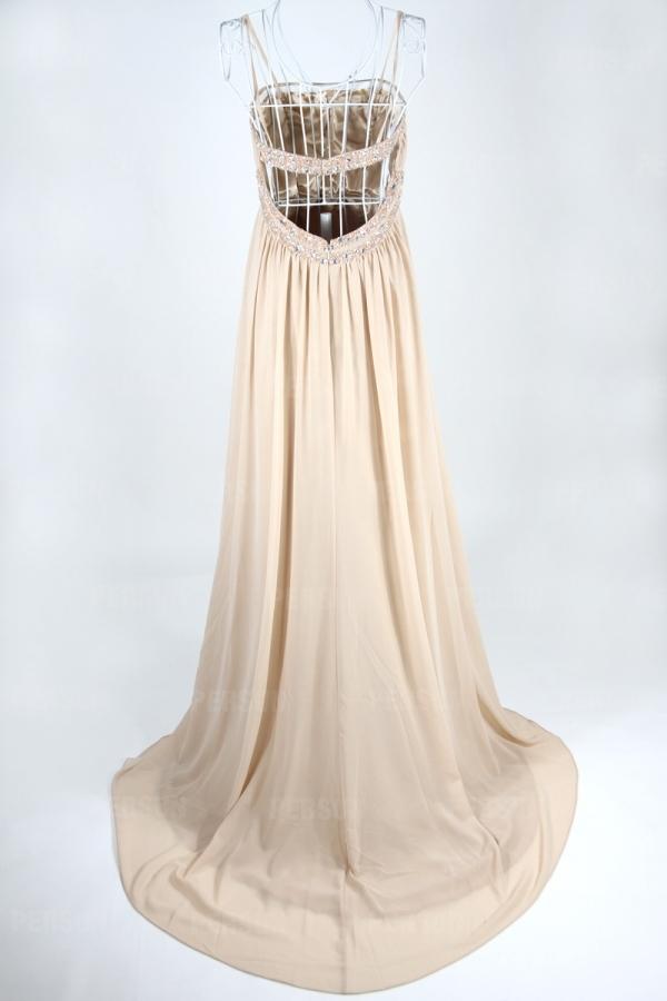 Robe soirée élégante taille empire ornée de bijoux