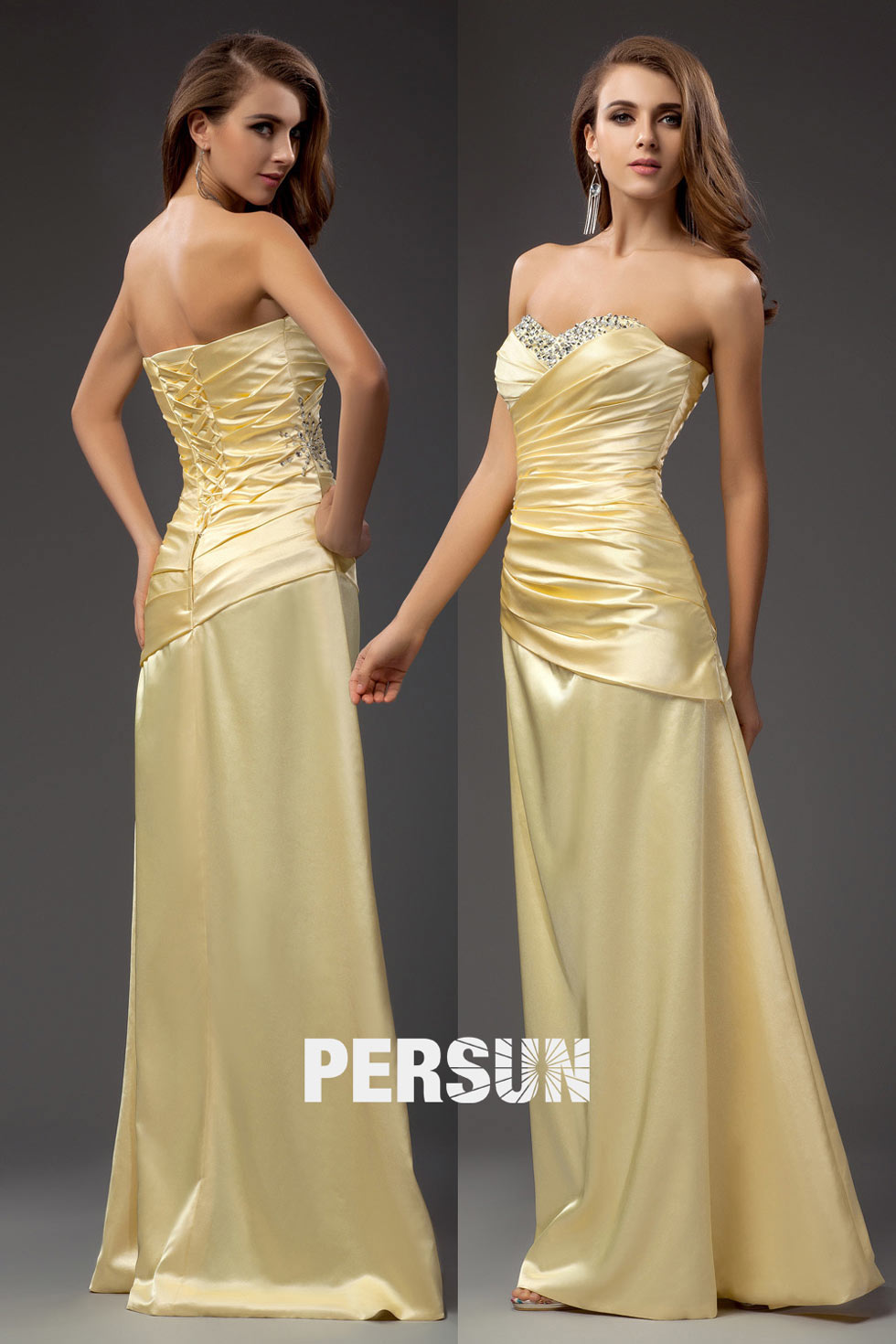 robe jaune claire habillée à bustier plissé