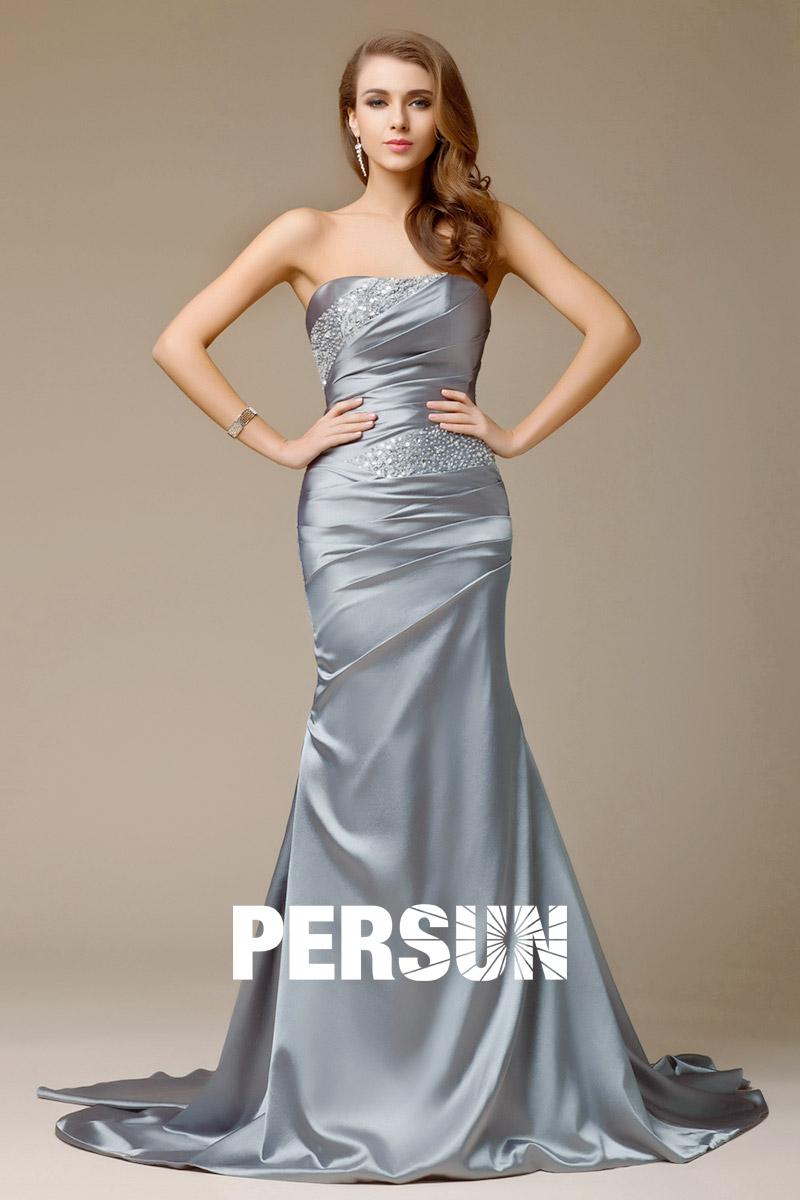 robe grise de gala longue bustier paillettes jupe sir ne en satin lastique. Black Bedroom Furniture Sets. Home Design Ideas