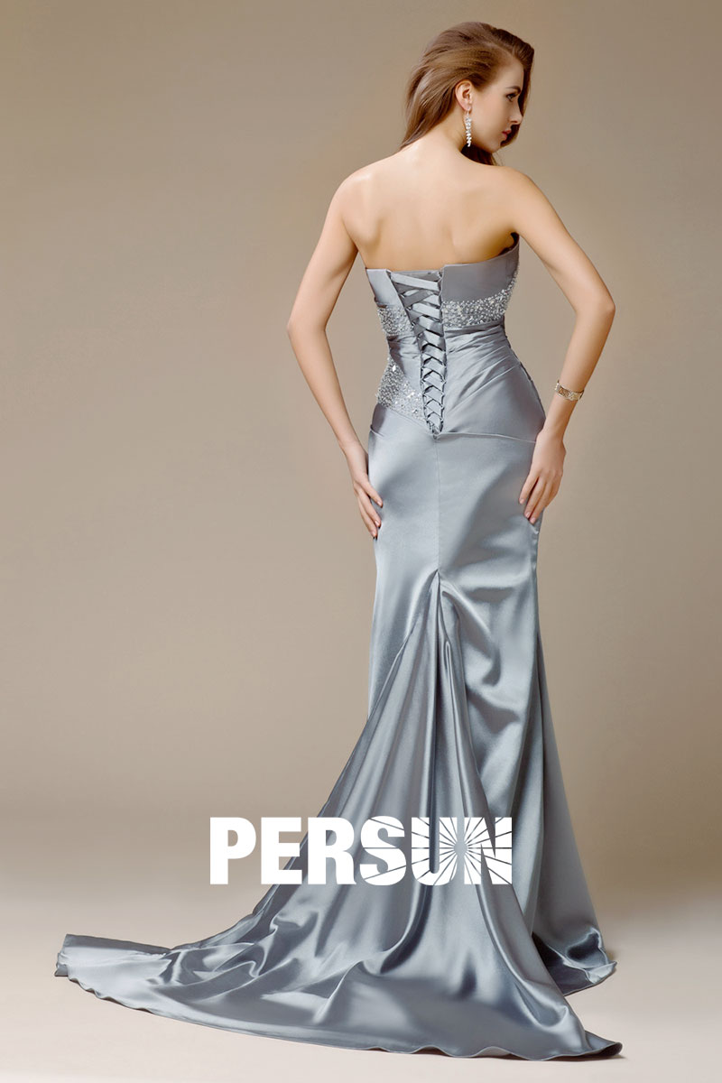 robe de soirée longue grise à laçage