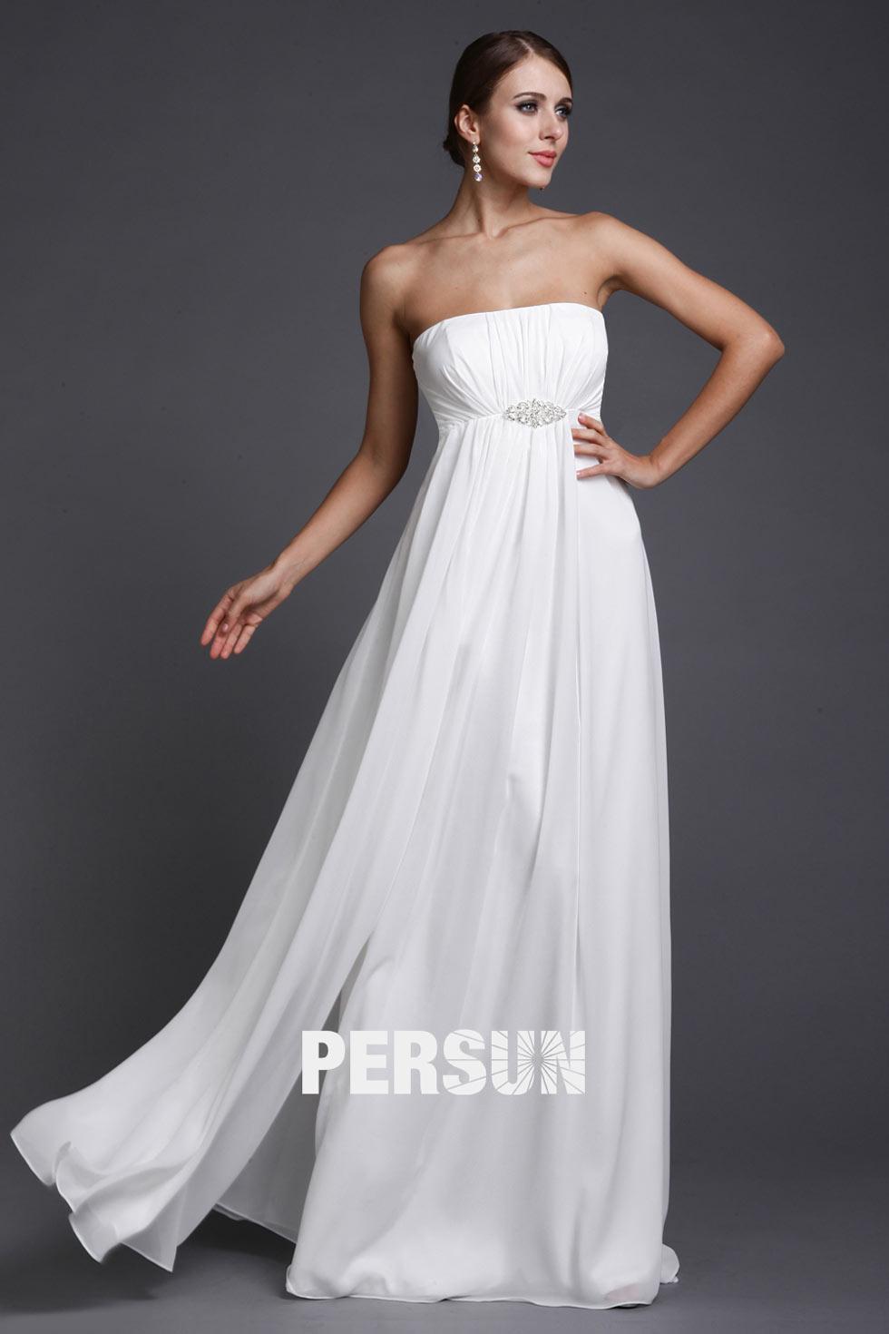 robe de soirée longue empire blanche bustier droit ornée de strass