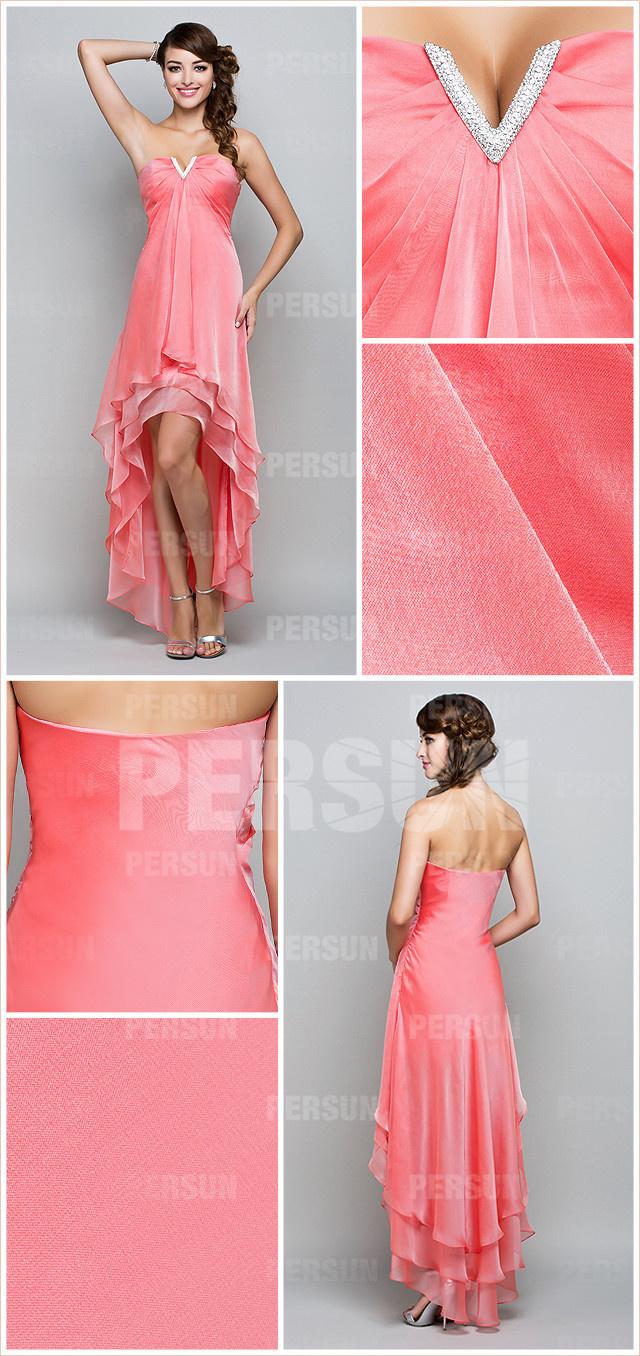 robe rose corail pour mariage courte devant longue derrière encolure djellaba