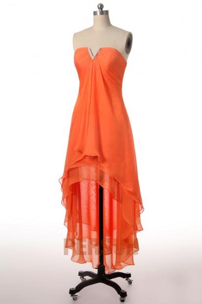 Robe de soirée Tencel orange décolleté djellaba