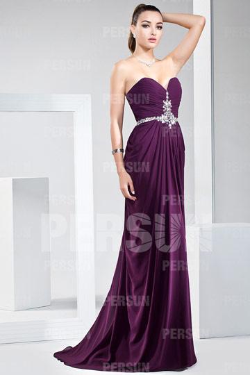 Elégante Robe longue de soirée / bal bustier coeur ornée de bijoux