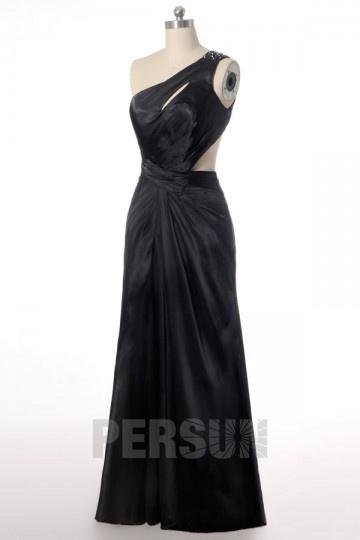 Elégante Robe longue de bal / soirée noire bustier asymétrique côté découpé