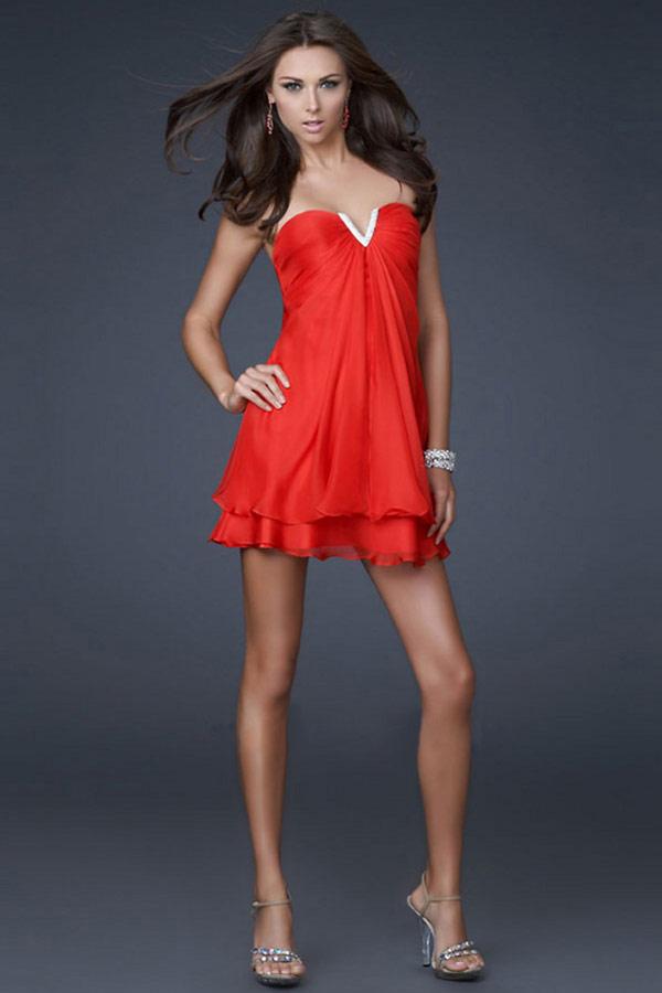 petite robe rouge mode col coeur sans bretelle pour danser mini prix