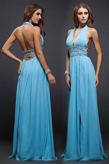 robe de bal bleu fendue sexy ceinturée dos nu