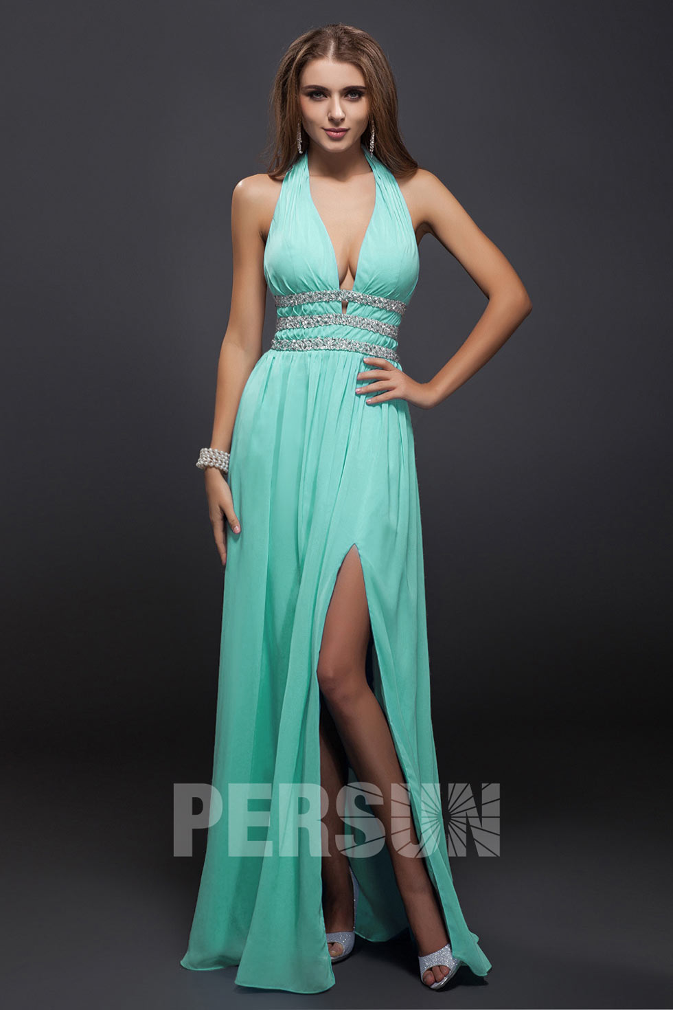 robe fendue bleue sexy à encolure V plongeant avec bijoux