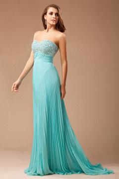 Robe gala plis sans bretelle en mousseline turquoise