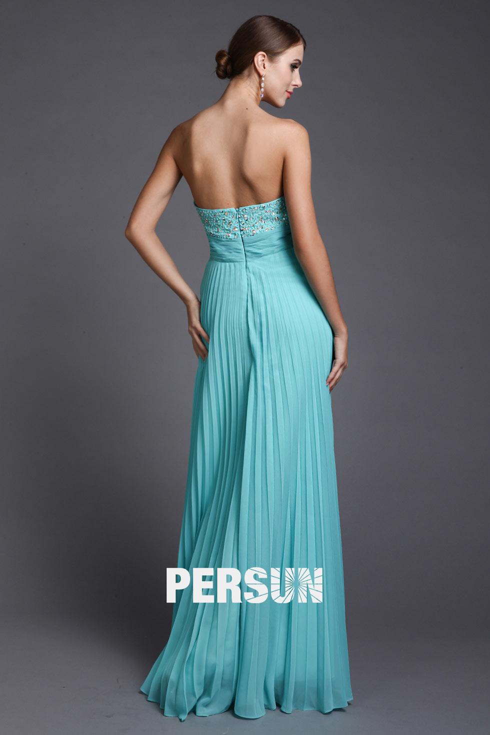 robe bal de femme bustier dos ouvert plissée longue