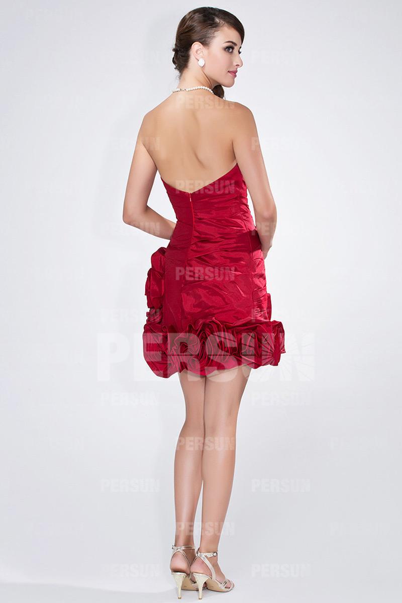 Mini Robe bal bustier plissée ornée de bijoux et roses