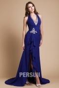 Sexy Langes V Ausschnitt Neckholder blaues Abendkleider aus Chiffon