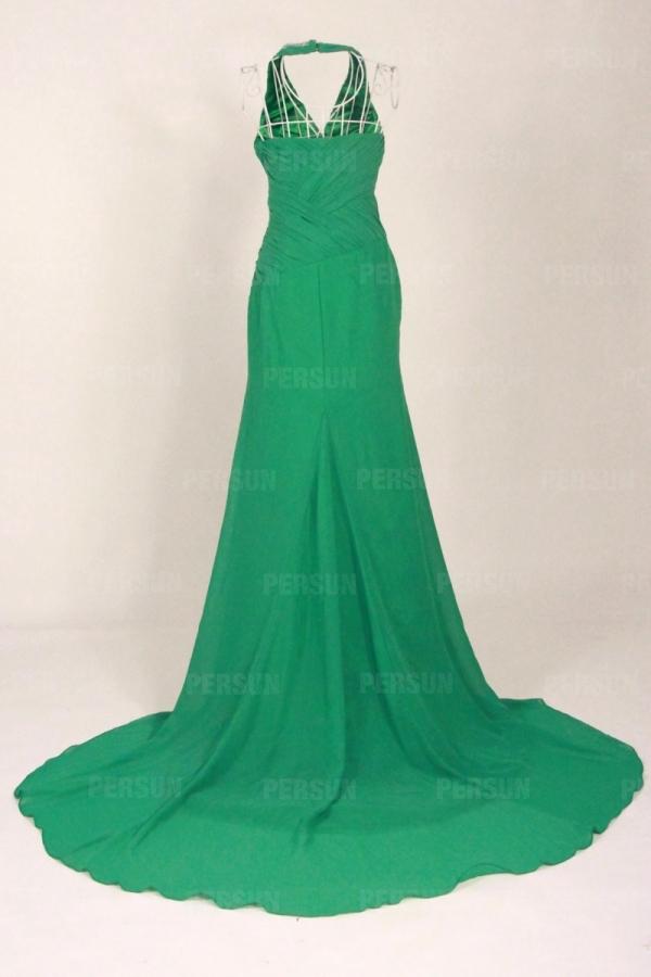 Sexy robe bal fendue décolleté V plongeant col américain