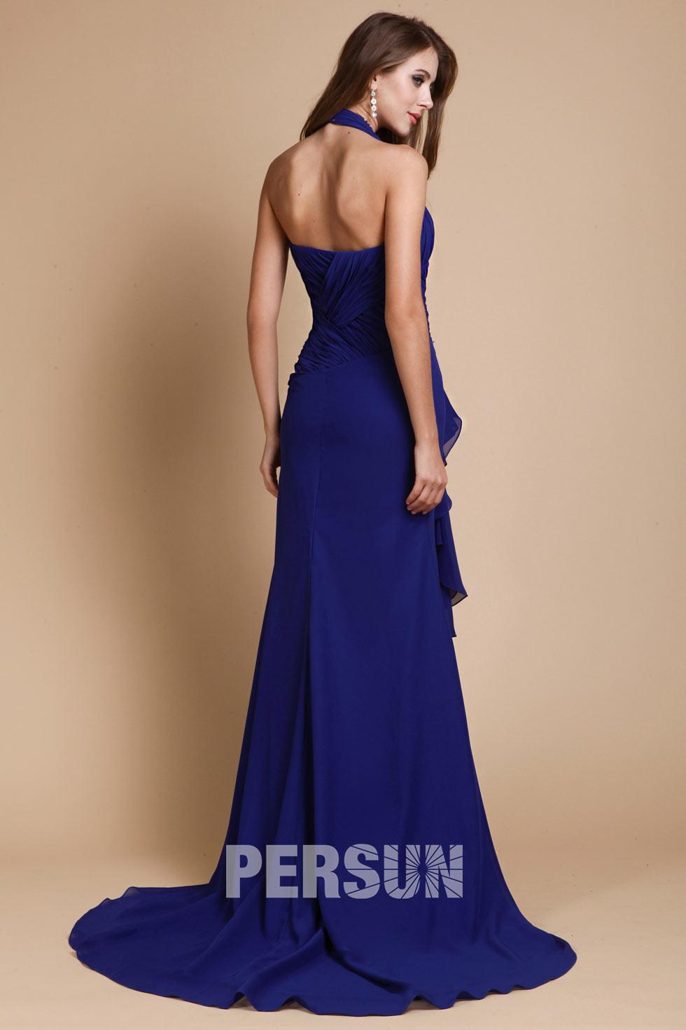 robe de soirée col américain bleu roi