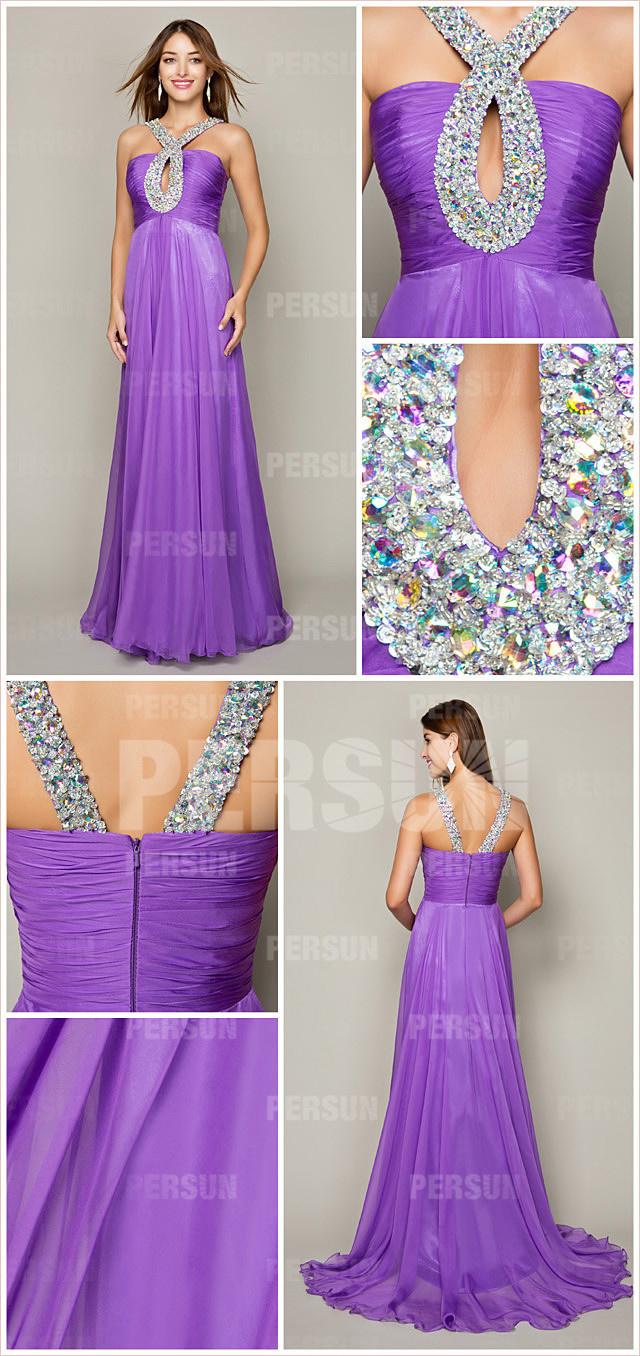 Robe de violet princesse avec trou de serrure ornée de strass longue