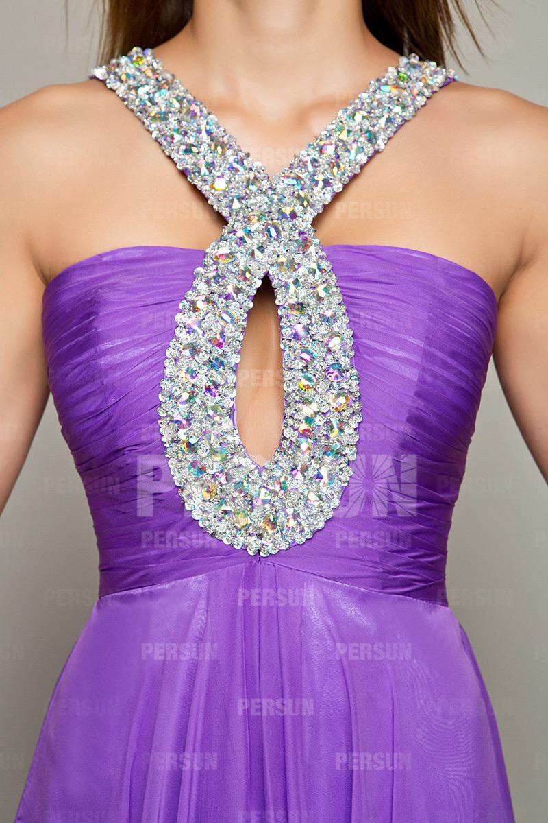 Robe bal plissé empire avec bretelles croisées et ornées de strass