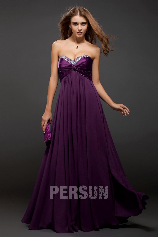 robe de soirée longue empire prune bustier coeur embelli de strass
