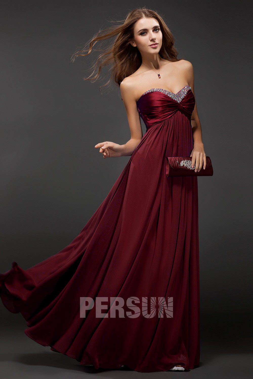 Robe prune longue à bustier coeur empire avec strass en mousseline