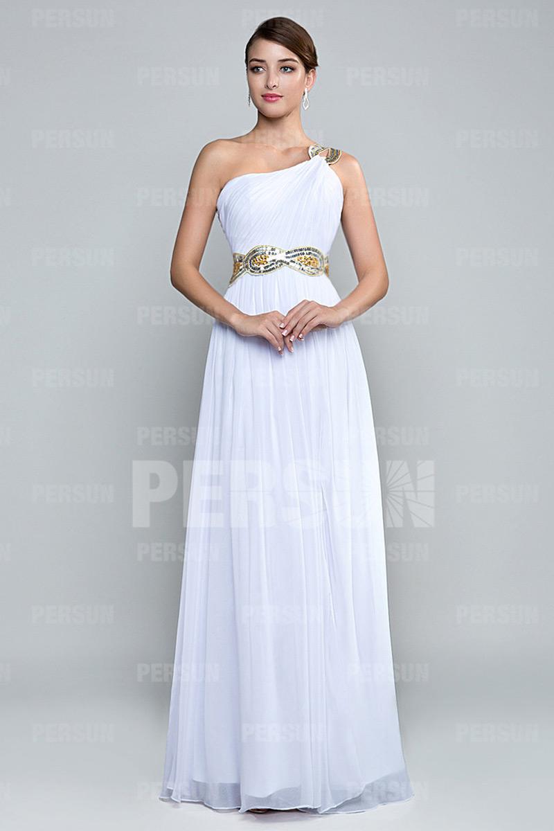 Elegante Robe de soirée fendue encolure asymétrique en mousseline blanche