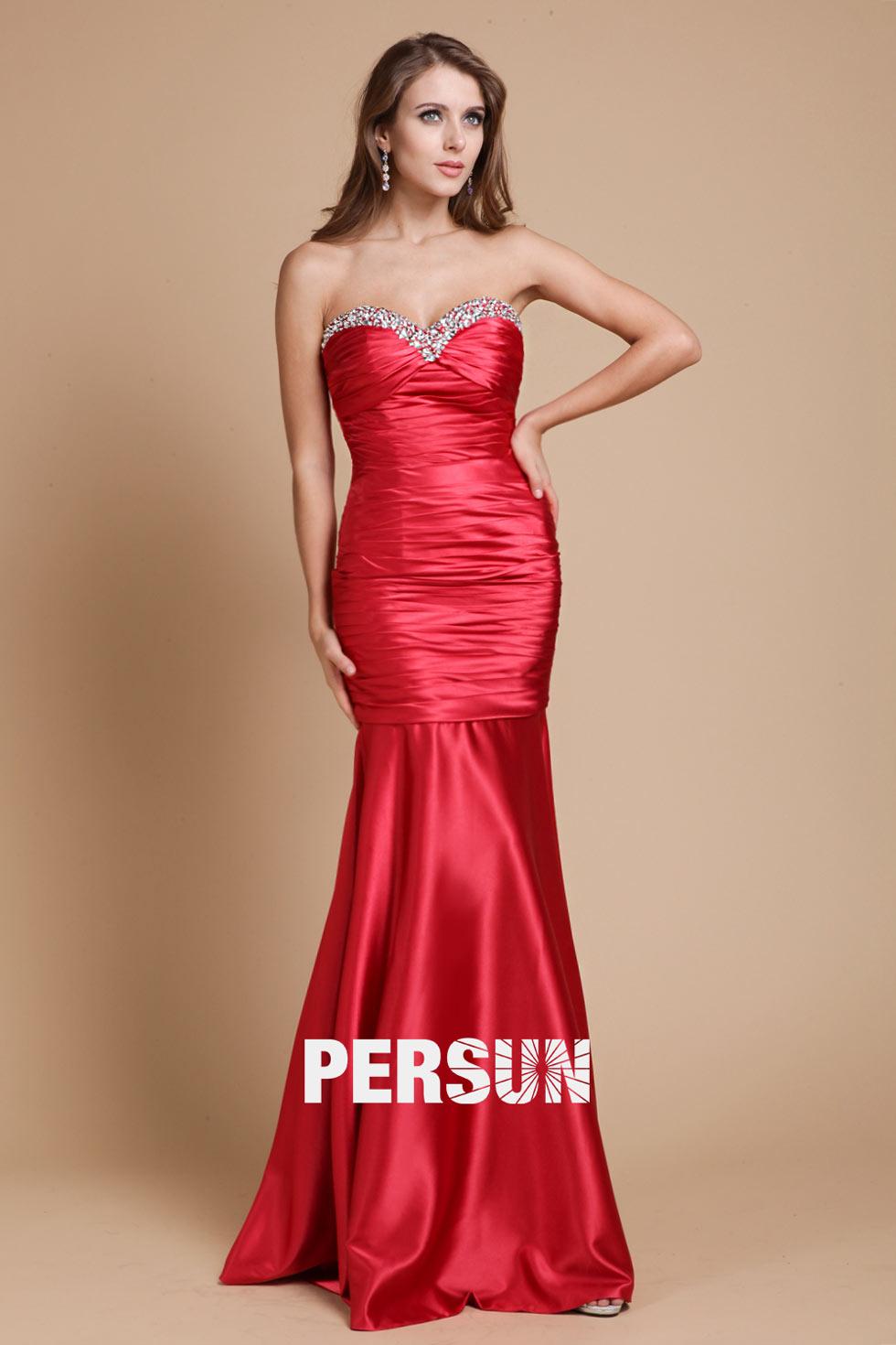 Robe gala rouge bustier style trompette longue sol