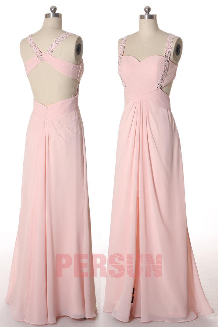 robe de soirée longue rose fendue à dos découpé à bretelle embelli de strass