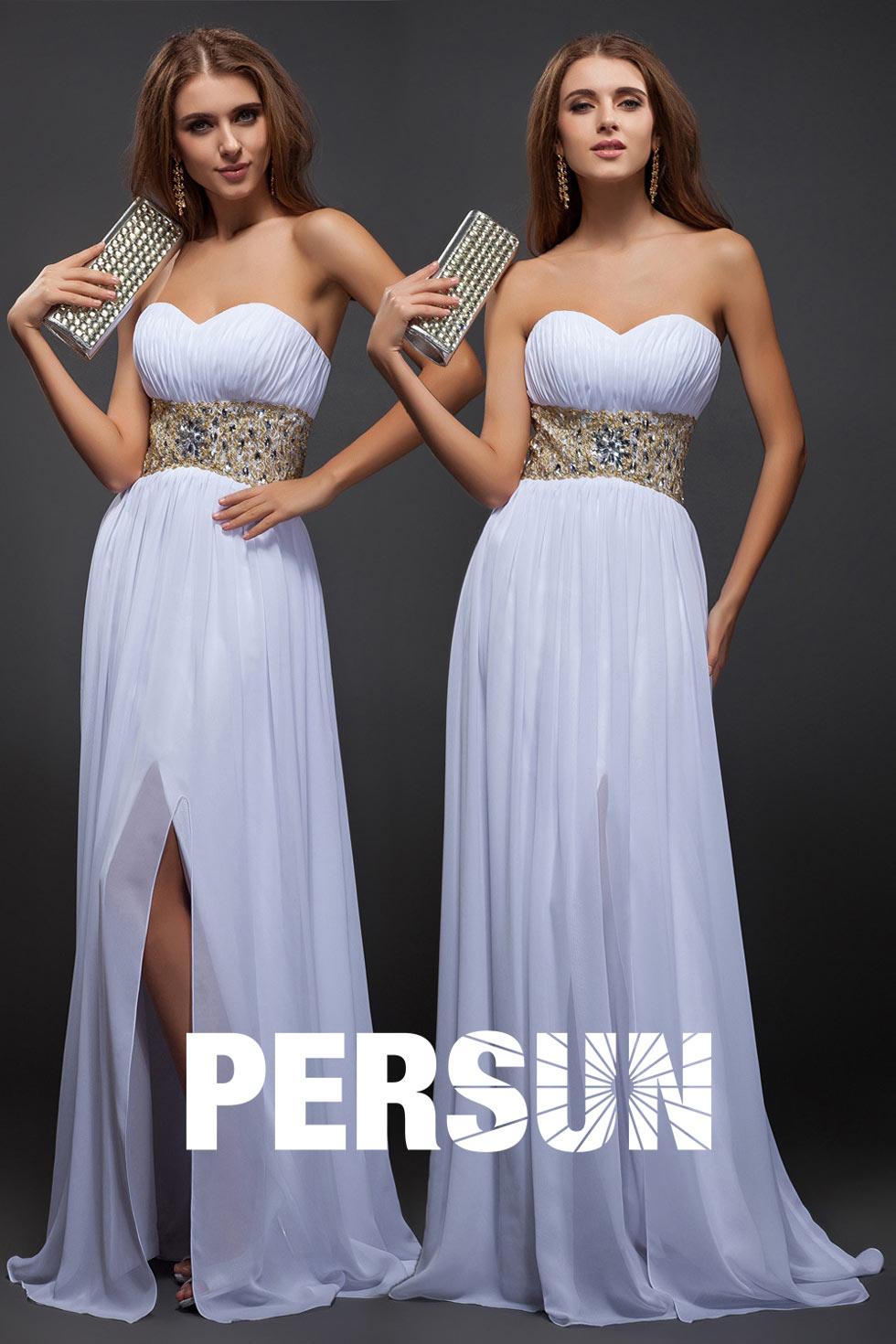 robe coktail fendue blanche longueur sol empire à bustier coeur