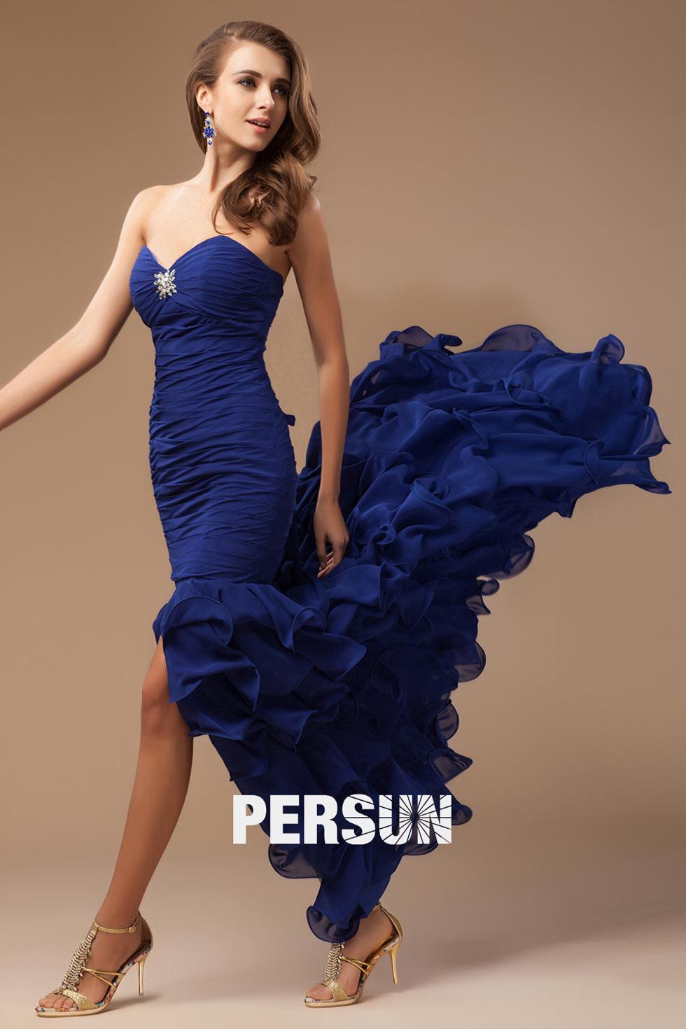 Robe habillée bustier coeur à volants en bleu royal