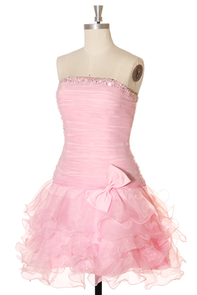 robe de cocktail rose courte bustier strassé à jupe volants