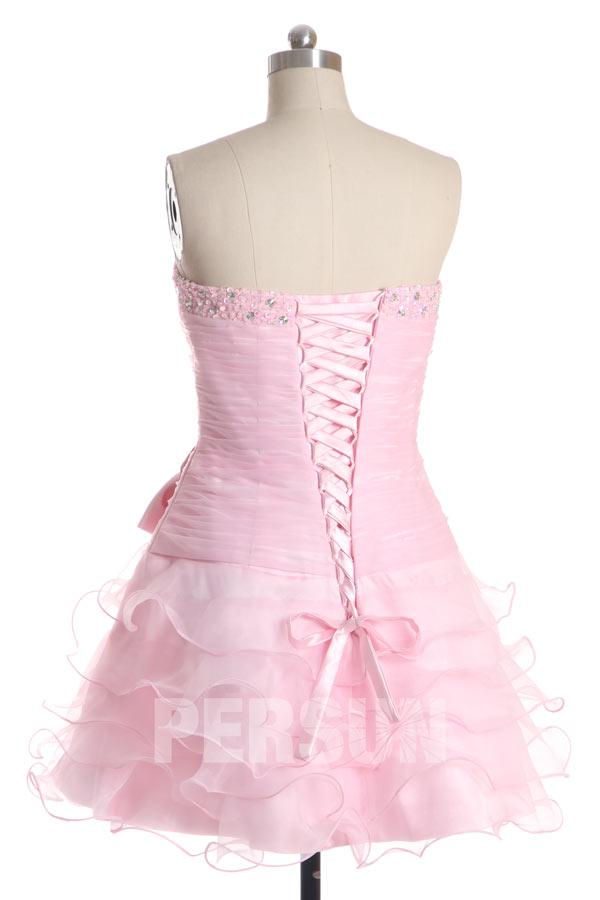 Mini robe rose bustier plissée à jupe volante à nœud papillon