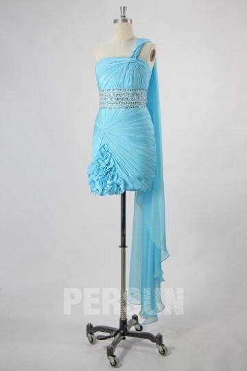 Robe de bal courte asymétrique en Tencel turquoise avec traîne Watteau