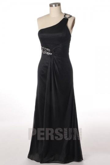 Robe noire longue bustier asymétrique pour soirée de mariage ou cocktail