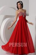 Robe de bal mousseline rouge empire bustier coeur travaillé de strass