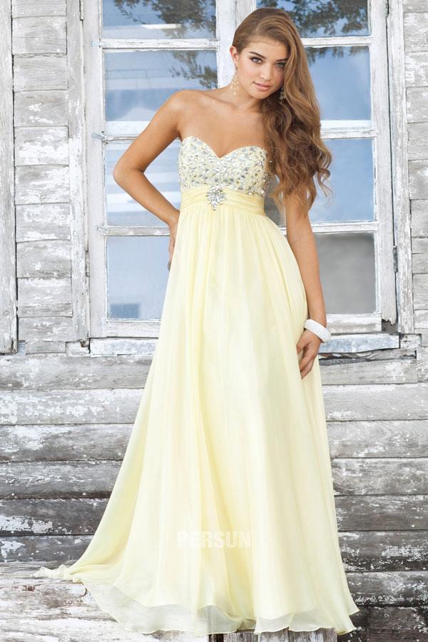 robe bustier jaune ornée de strass
