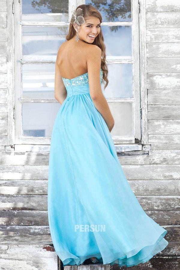 robe soirée bleu clair à dos nu