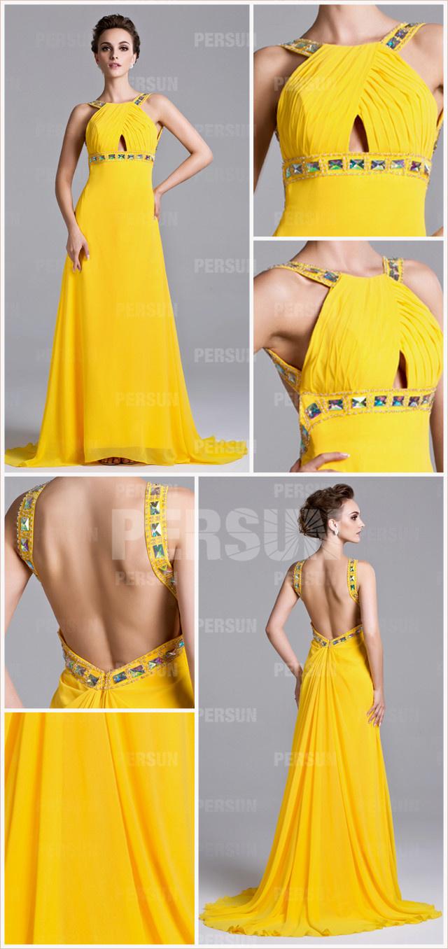 robe concours de beauté jaune à dos ouvert