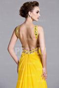 Robe de bal à A-ligne à dos nu ornée de strass en Mousseline