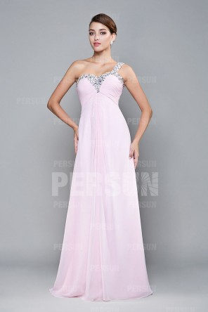 Robe de cocktail longue rose pale