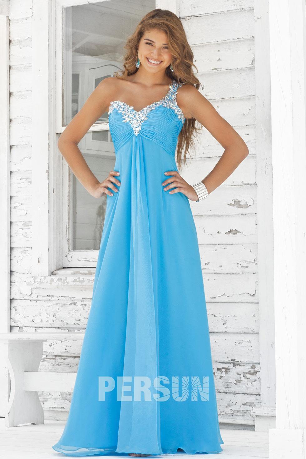 robe bleu empire avec une seule épaule