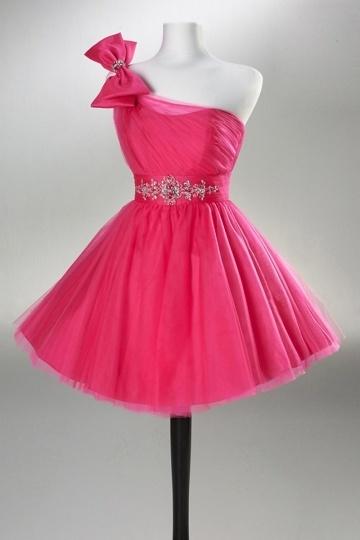 Robe de bal rose bonbon asymétrique en tulle
