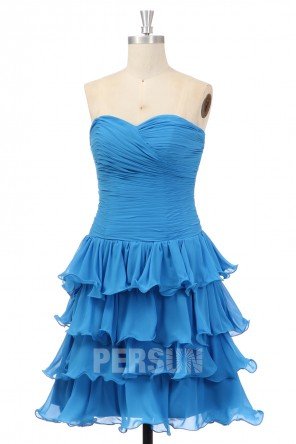Robe de cocktail / bal courte bleu à bustier coeur jupe volantée