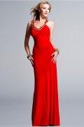 Modern Etui Linie Rückenfreies bodenlanges Abendkleid in Rot