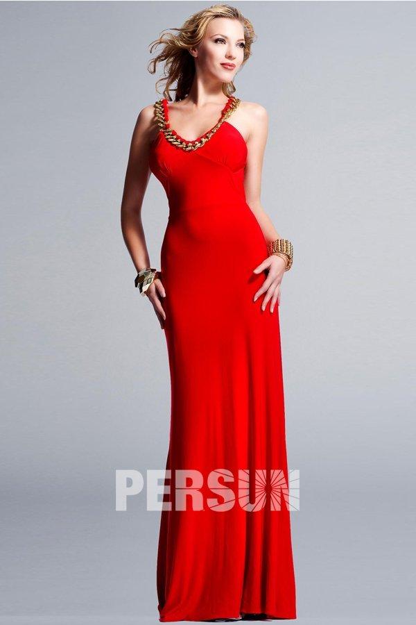 Sexy robe de soirée rouge en jersey moulante au dos nu
