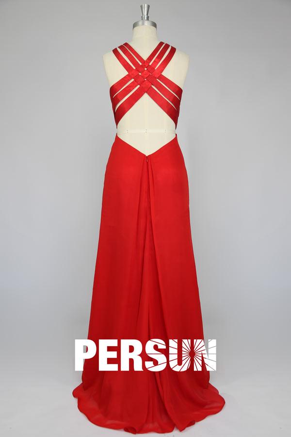 Robe rouge longue fendue avec bretelles entrecroisées