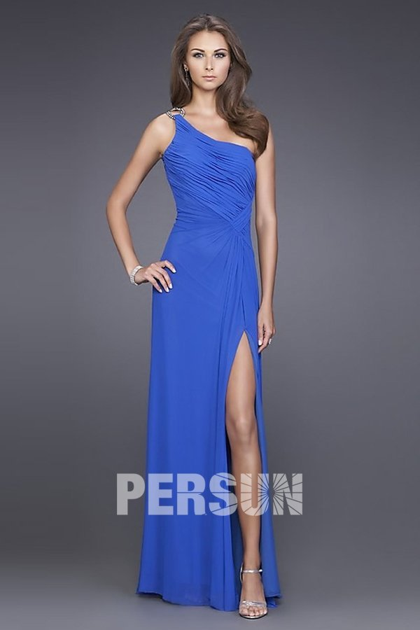 robe bal bleu avec fente latérale longue sol