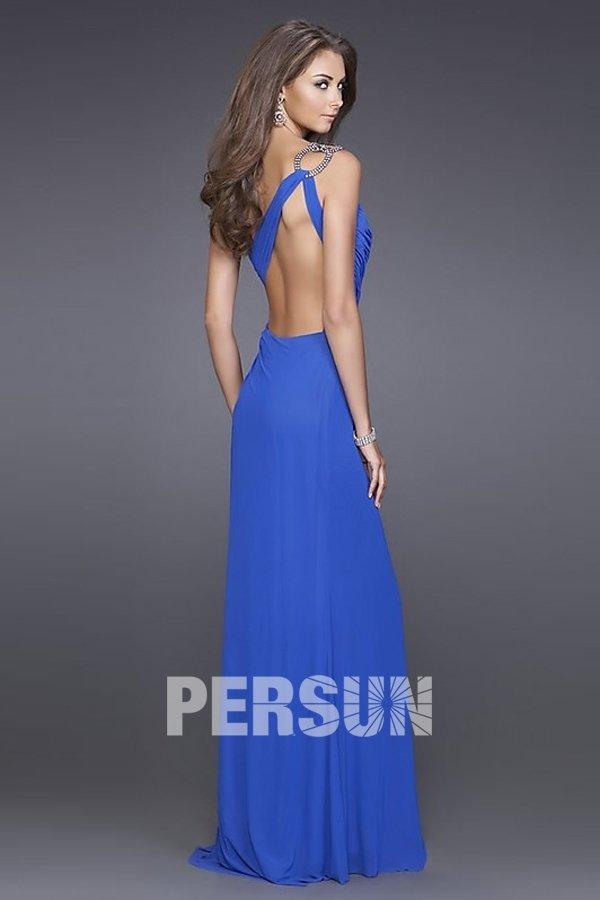 robe bleu longue dos nu