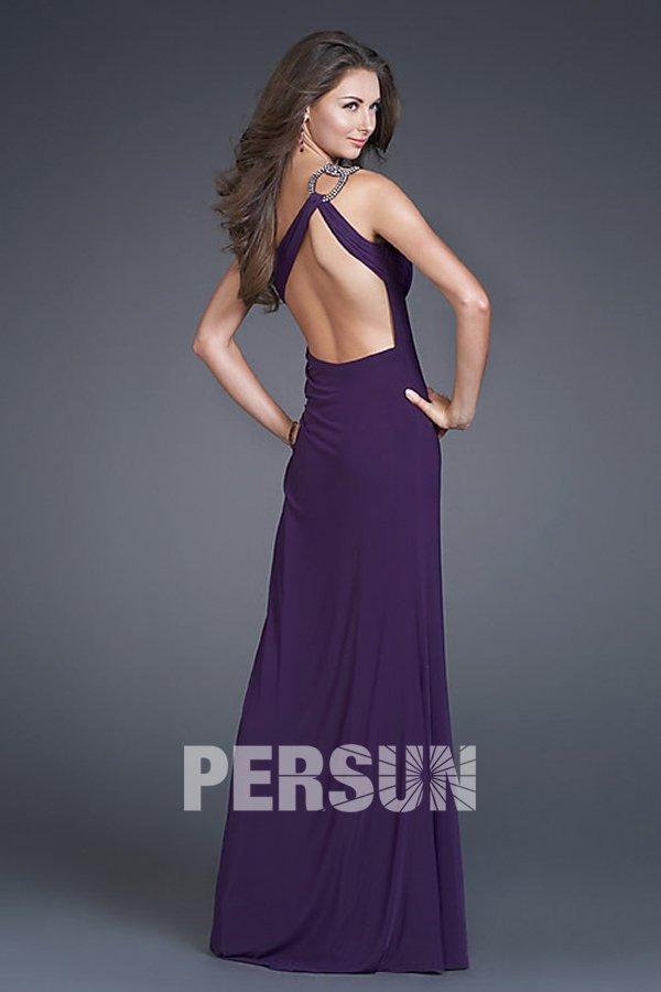 robe longue violette à dos nu