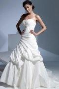 Robe de mariée plissée à traîne Chapelle à A-ligne en taffetas sans bretelle
