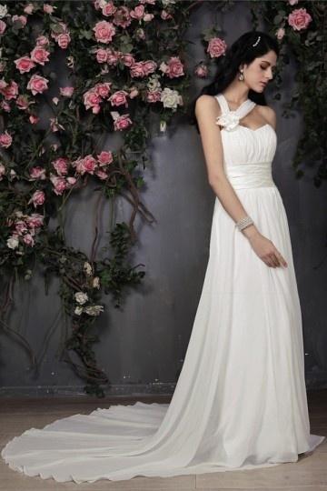 Robe mariée à traîne style grecque en mousseline asymétrique