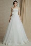 Elegantes Bodenlanges Trägerloses A-Linie ivory Brautkleider aus Tüll