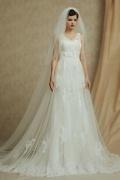 Robe de mariée sirène en dentelle à col en V